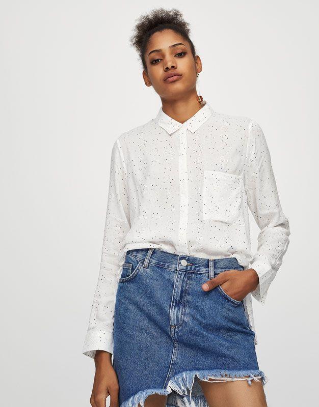 Z2018  Koszula basic z długim rękawem - Bluzki i koszule - Odzież - Dla Niej - PULL&BEAR Polska