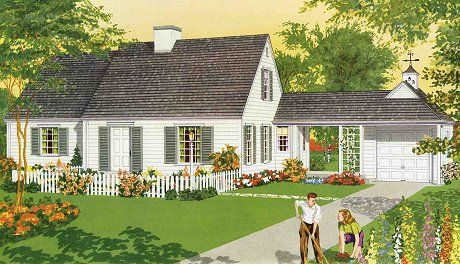 cape cod house with breezeway to garage (plus a nice site for retro revival styles)