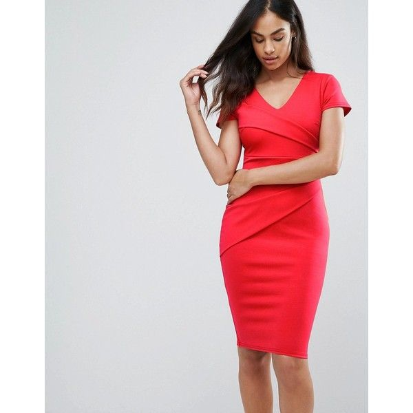 Jessica Wright Bodycon Short Sleeve Midi Dress ($66) ❤ liked on Polyvore featuring dresses, red, bodycon midi dress, short sleeve dress, v-neck dresses, red dress and mid calf dresses