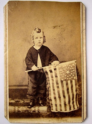 CDV of Civil War Ear Patriotic Young Boy with Flag. (Pottsville, Pa.).