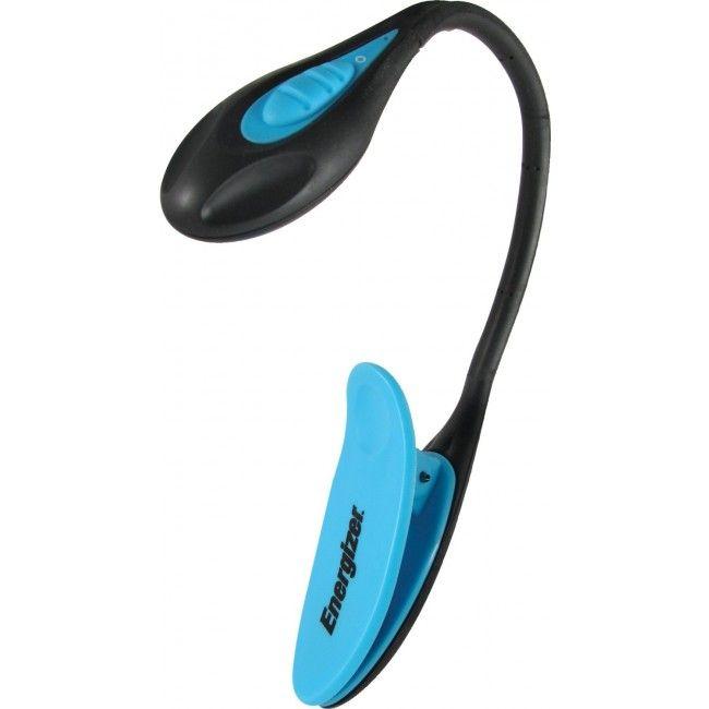 Luz de Leitura Ultra Portátil e Ultra Leve com Luz de LED Nichia, 14 Lumens, Corpo Flexível e Clipe Energizer - Preta/Azul