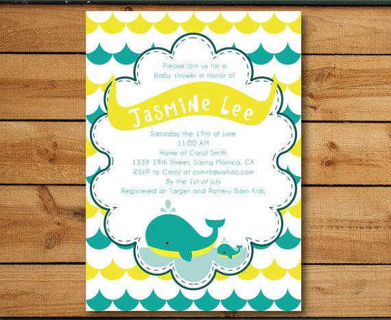 Whale Under The Sea - Baby Shower Invitation (Gender Neutral) DIY Digital Printable - Announcement, Shower, Party, Boy, Girl. $15.00, via Etsy.