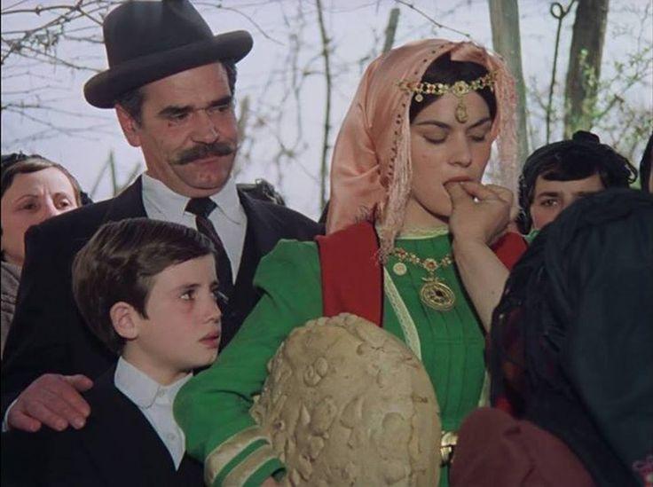 Albanian actors Robert Ndrenika, Admir Sorra & Elvira Diamanti in the movie   ''Peralle Nga E Kaluara/Stories From The Past'' in Gjirokaster, Albania, 1987: