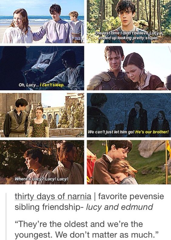 This is my most favorite Pevensie relationship. Ever. Aside from Peter/Lucy's relationship, Edmund/Lucy's relationship had more depth and growth throughout the years.
