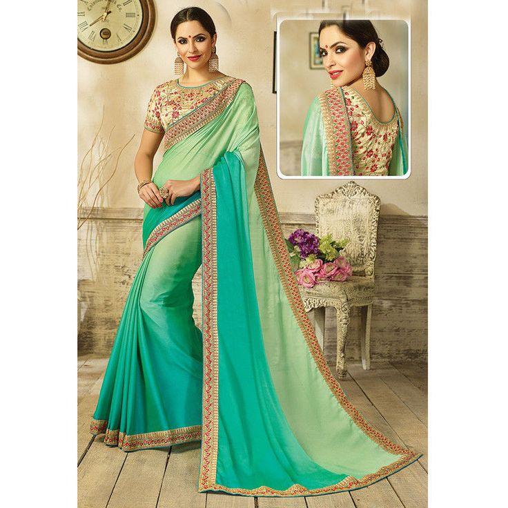 Indian sarees for women party sarees designer blouse fabric embroidery sari new #Handmade #Saree