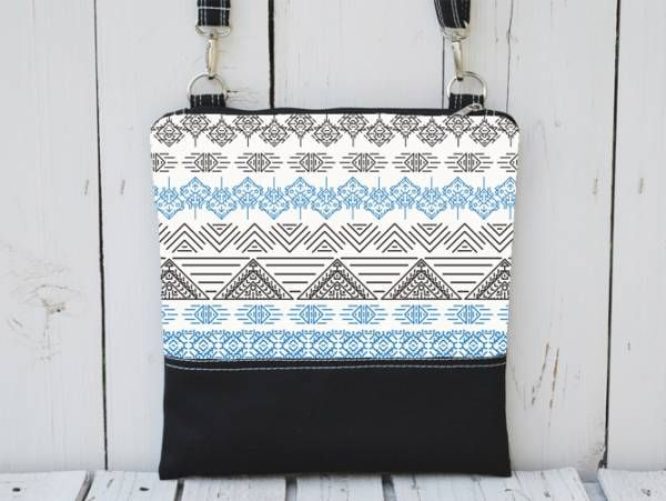 Handmade Canvas Crossbody Bag - Aztec Design