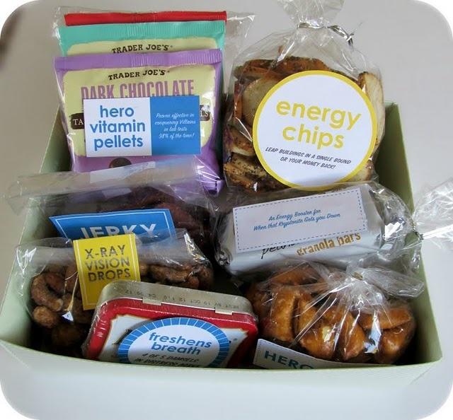 Superhero gift: Real Life, Gift Ideas, Superhero Snack, Snacks, Life Superhero, Care Packages, Birthday Gifts