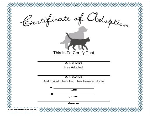 A certificate for adopting a pet cat or dog, with a blue floral border and touching sentiment. Free to download and print