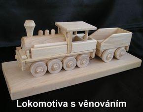 Historická lokomotiva s uhlákem - dřevěné výrobky pro děti a železničáře