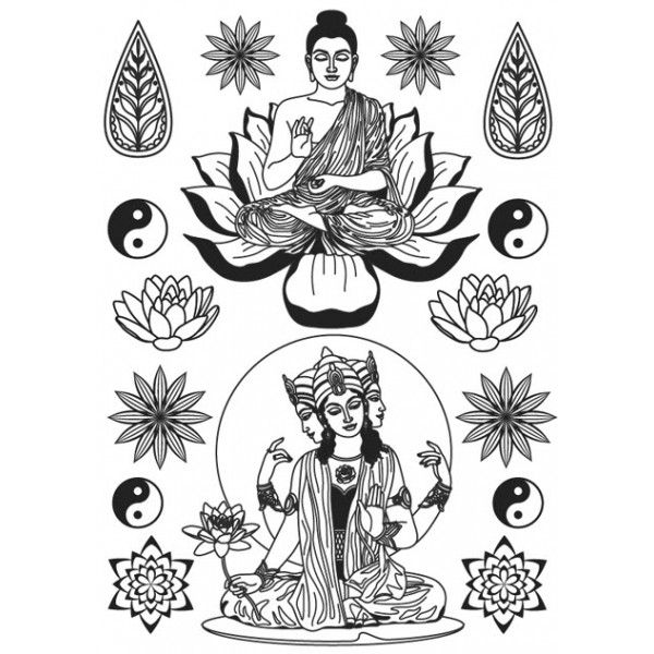 transfert bouddha noir thermocollant ki sign energie creative