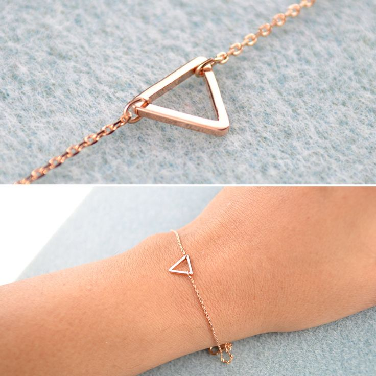 Another design of Rose Gold minimalist bracelet!! Tiny Rose Gold Triangle accentuated on a dainty polished rose gold chain!! Extender chain available so it fits all wrist sizes. Matching necklace is available as well!! ☺️☺️  One piece available for unbelievable price - £11.95