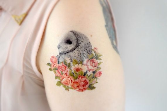 An illustrated barn owl delicately covered in sprint floral. Measuring 3 in length this tattoo will last around 5 days. Each tattoo is a