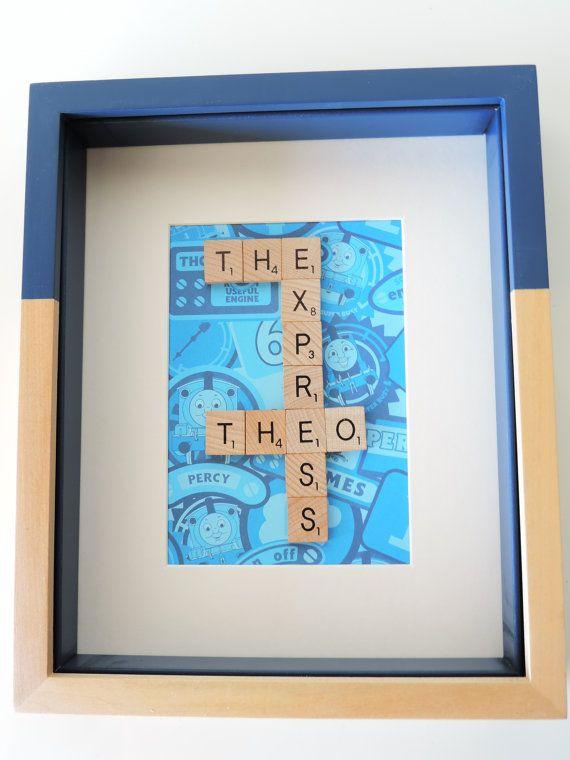 Personalized blue scrabble letter Thomas train by SpellingBeeArt