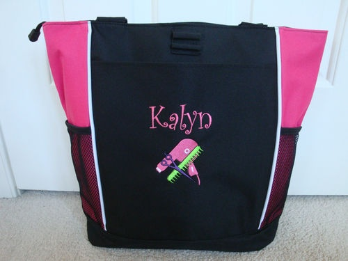 Hairdresser Beautician Cosmetology Beauty School Salon Pink Monogrammed Tote Bag
