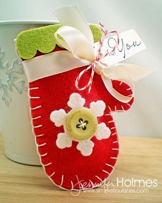 Make these adorable felt mittens.  Would be a great gift attached to a nice mug and filled with tea bags.