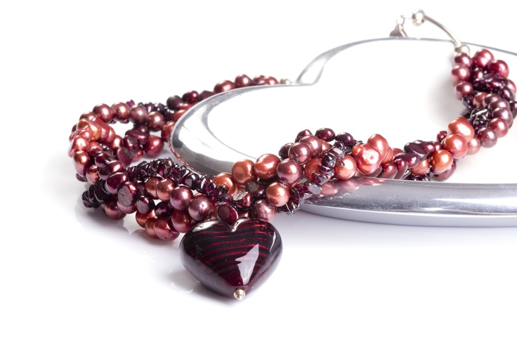 deeep red murano heart with pearls and garnet by Bish Bosh Becca