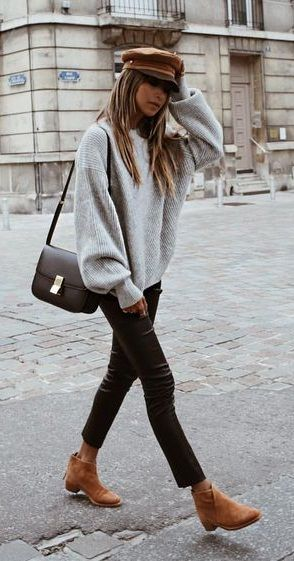 fall street style. knit top. denim. tan ankle boots.