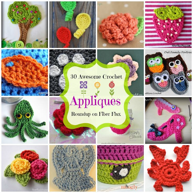 30 Awesome Appliques! A Free Crochet Applique Roundup from Fiber Flux