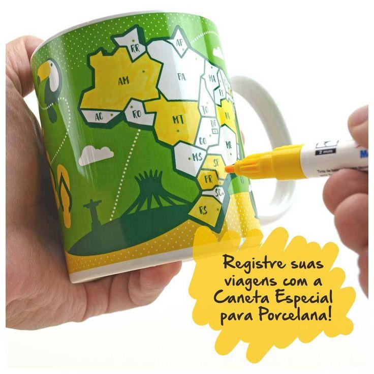 Caneca com mapa do Brasil e caneca especial para pintar em porcelana para você marcar suas viagens por esse vasto e lindo país!
