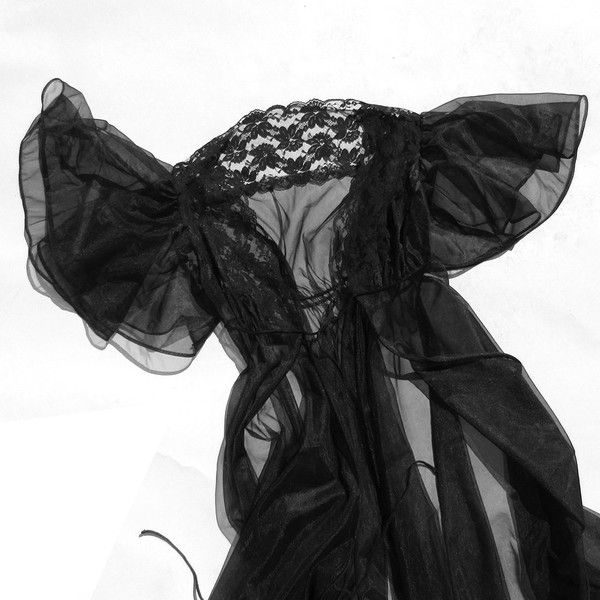 80s Goth Queen Robe with Flutter Sleeve Lace Mesh Full Length Nightie ($34) ❤ liked on Polyvore featuring intimates, robes, bath robes, lace dressing gown, petite robe, full length bathrobe and full length robe