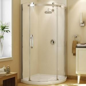 MAAX Olympia 36 in. x 36 in. x 78 in. Standard Fit Round Shower Kit with Clear Glass in Chrome-105760-000-001-101 at The Home Depot