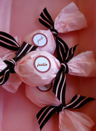 Gift Packaging Ideas: Tissue & Ribbon Wrapped Candy