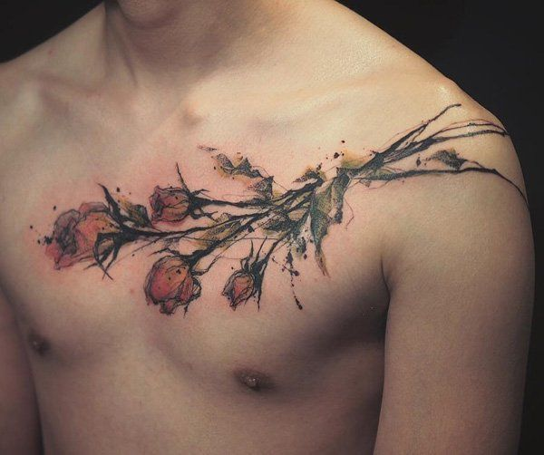Illustration rose chest tattoo for men - 120+ Meaningful Rose Tattoo Designs