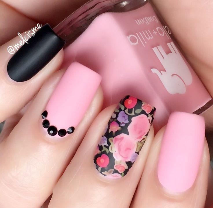 Pink/Black/Floral/Matte