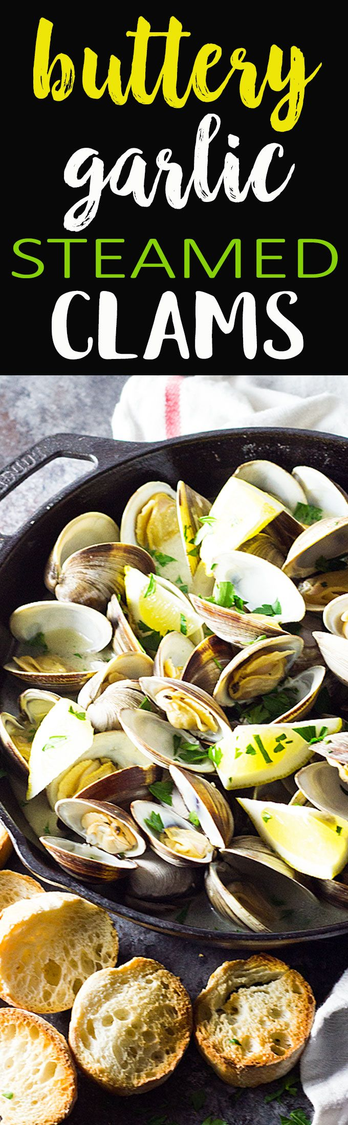 Just 15 minutes is all it takes for these steamed clams in a velvety, buttery garlic white wine sauce!  #ad