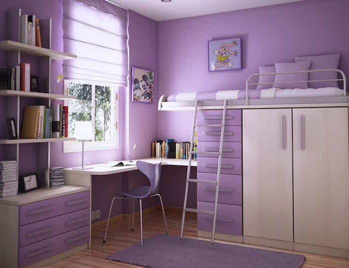 Teenager Zimmer In Lila Und Beige Liebe Farben Für Das Kinderzimmer Eines  Teenager Mädchen Hochbett Schreibtisch