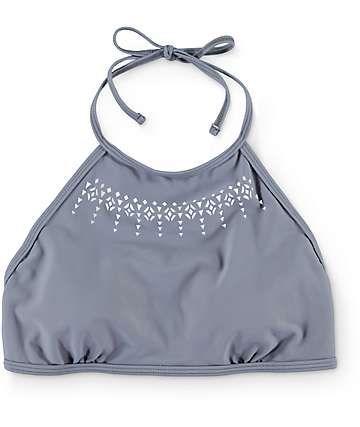 Malibu Laser Love Grey High Neck Bikini Top