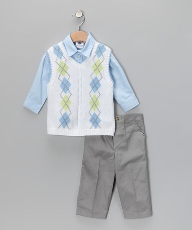 Take a look at this White Argyle Sweater Vest Set - Infant, Toddler & Boys by Good Lad on #zulily today!