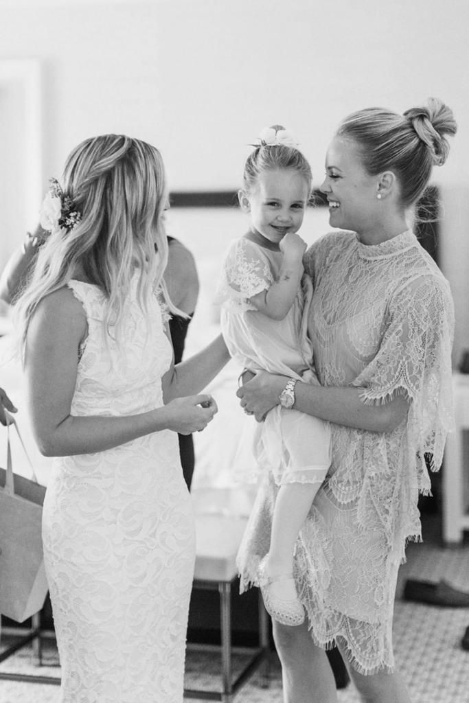 Jamie in our NIA 2.0 gown with her bridesmaid in our LA NOUVELLE High Neck Shift | Grace Loves Lace
