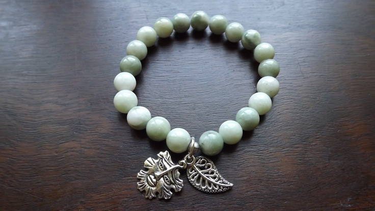 New Jade bracelet with green man and leaf charms.