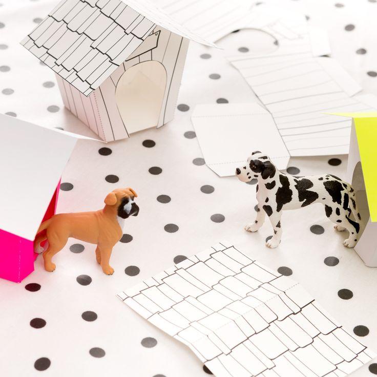 Koiramaiset kemut teemapaperi, askartele ihanat koirankopit | sweet diy dog houses