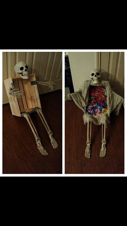 Skeleton Candy Box! Bought crate at Walmart, skeleton parts were ground stakes for the lawn, and add whatever material you like to cover the box. Assembled with duct tape and staple gun. About 20 minutes from start to finish! Happy Halloween!