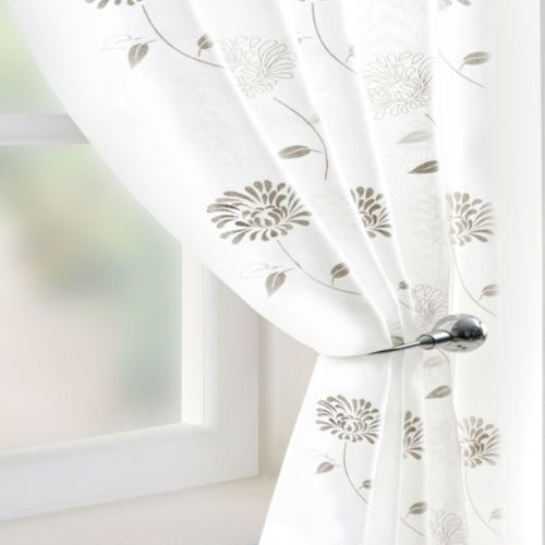 ivory cream voile net sheer curtain panel scarf all sizes inc extra wide ebay