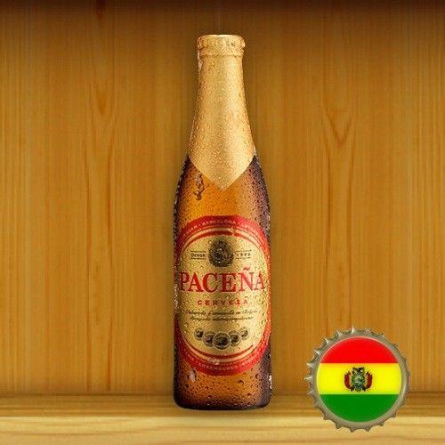 Cerveja Paceña Pico de Oro, estilo Standard American Lager, produzida por Cerveceria Boliviana Nacional S.A., Bolívia. 4.8% ABV de álcool.
