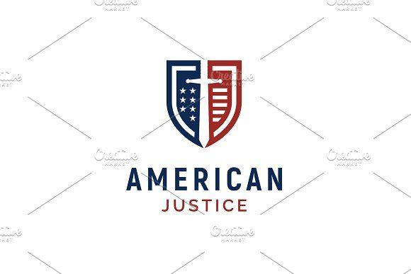 American Flag Shield Justice Logo Justice Logo American Flag Shield Classic Logo