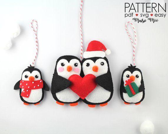 Felt Christmas Ornaments Pattern Penguin Family Ornament PDF | Etsy