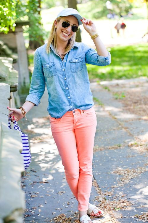 A chambray is always a great option for colored denim for any season. For spring or summer, we love it paired with a fun coral shade.