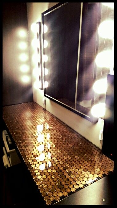 Copper upcycled dressing table using pennies and hot glue