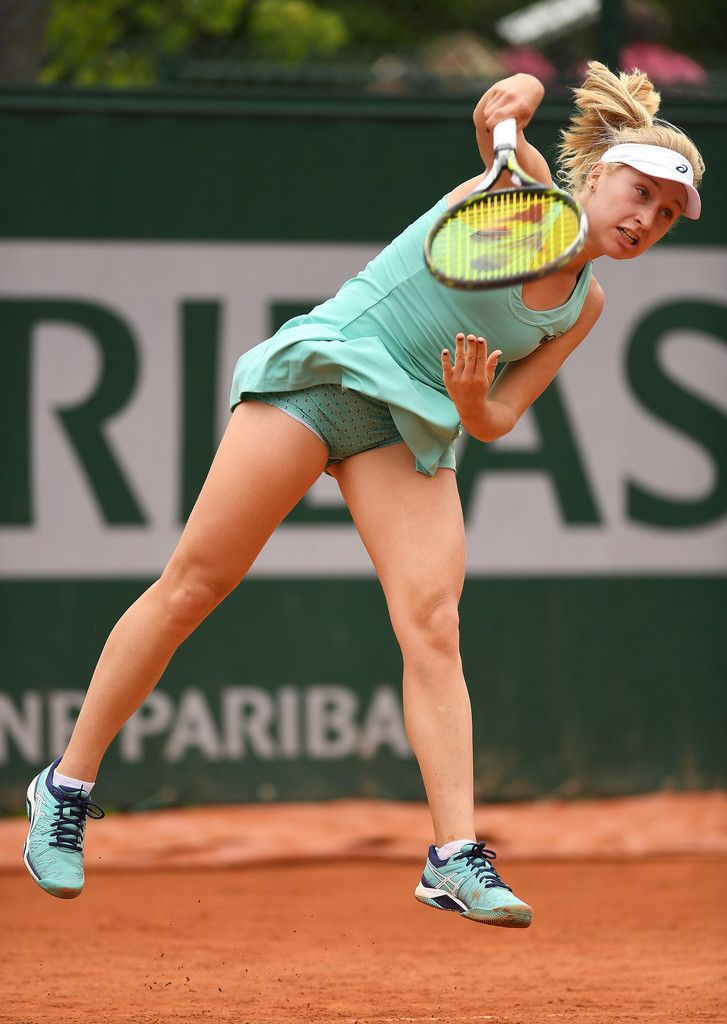 Daria Gavrilova Photos - Daria Gavrilova of Australia serves during the Ladies Singles first round match against Mariana Duque-Marino of Colombia on day three of the 2016 French Open at Roland Garros on May 24, 2016 in Paris, France. - 2016 French Open - Day Three