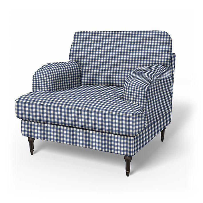 Stocksund, Armchair Covers, Armchair, Regular Fit using the fabric Vreta Gingham Check Blue/White