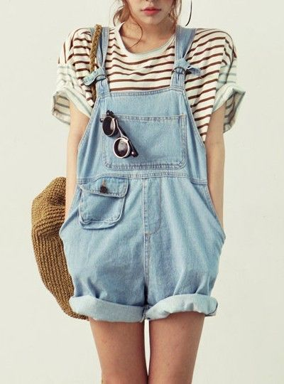 Stripy tee and dungarees.