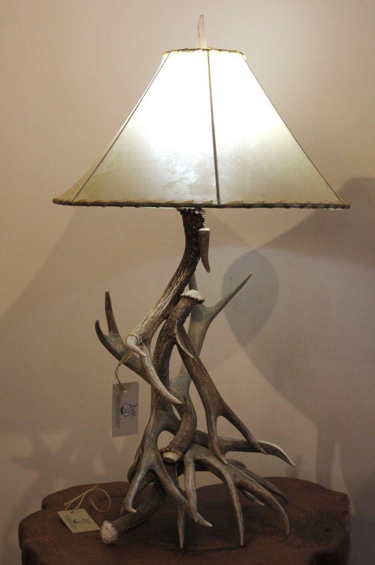 Mule Deer Antler Table Lamp with Shade