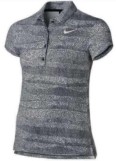 Polo de golf NIKE Girls PRINTED para niñas. Fabricado con tejido Dri-Fit, para mantenerlo seco y cómodo en el campo de golf. Polyester 87% y Spandex 13%. Cuello de 4 botones.