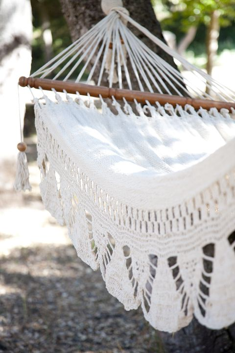 Beautiful White Crochet Hammock, I have one like  it, just need the summer and setting