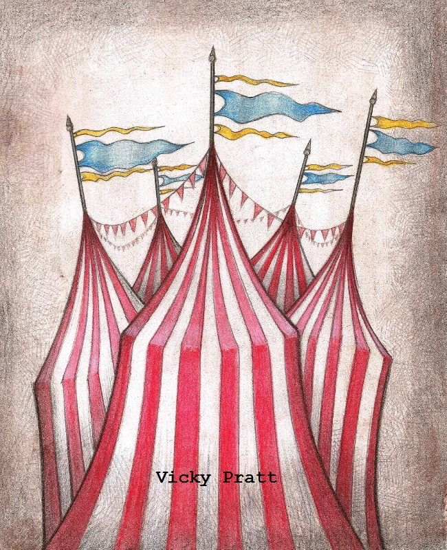 Week 46: Circus. Watercolour pencils and 2H lead pencil over the top. Slightly tweaked in a photo editing programe. Circus tents with flags. vicpratt.wix.com/... Find me on Facebook Vicky Pratt - Illustrator.