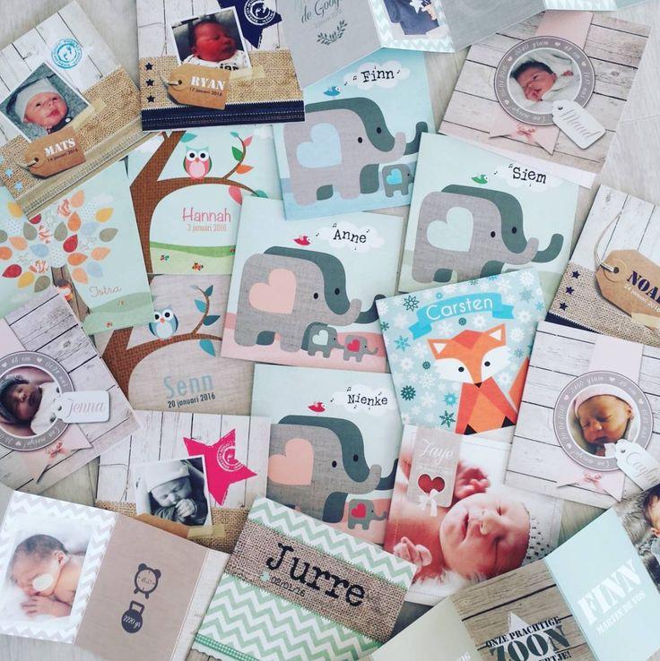 www.hetuilennestje.nl geboortekaartje geboortekaarten birth announcement jongen meisje boy girl baby foto's namen hout dieren vos olifant uil vogel kaarten